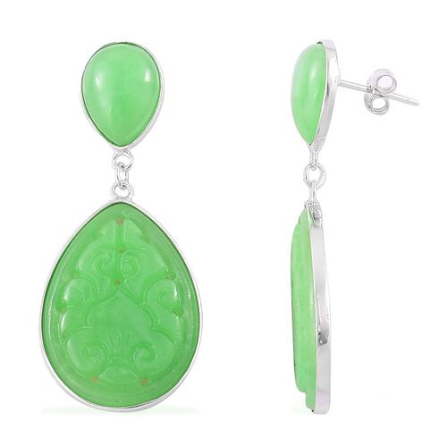 Green Jade Drop Earrings (with Push Back) in Rhodium Plated Sterling Silver 32.800 Ct.