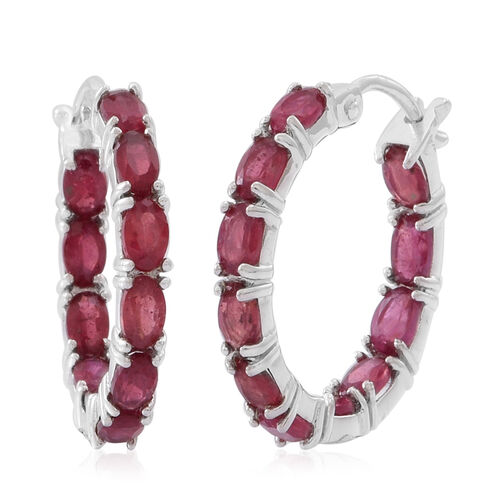African Ruby (Ovl) Hoop Earrings (with Clasp) in Rhodium Plated Sterling Silver 6.500 Ct.