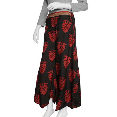 Black and Red Colour Printed High Waist Fold Over V Cut Palazzo (Free Size)