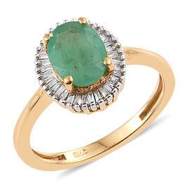 Kagem Zambian Emerald (Ovl 1.00 Ct), Diamond Ring in 14K Gold Overlay Sterling Silver 1.200 Ct.