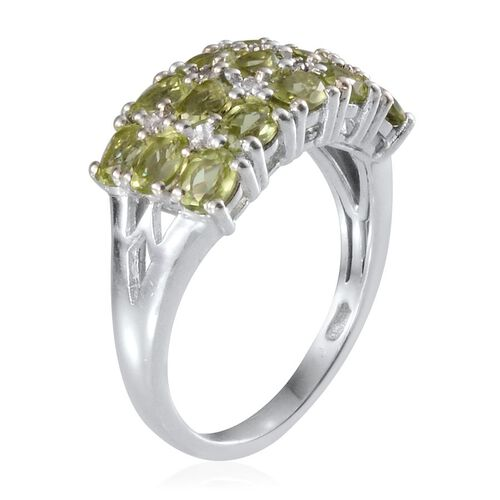 Hebei Peridot (Ovl), Diamond Ring in Platinum Overlay Sterling Silver 3.510 Ct.