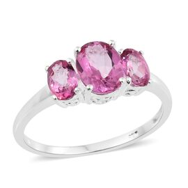 One Time Deal-Mystic Pink Coated Topaz (Ovl) 3 Stone Ring in Sterling Silver 2.500 Ct.