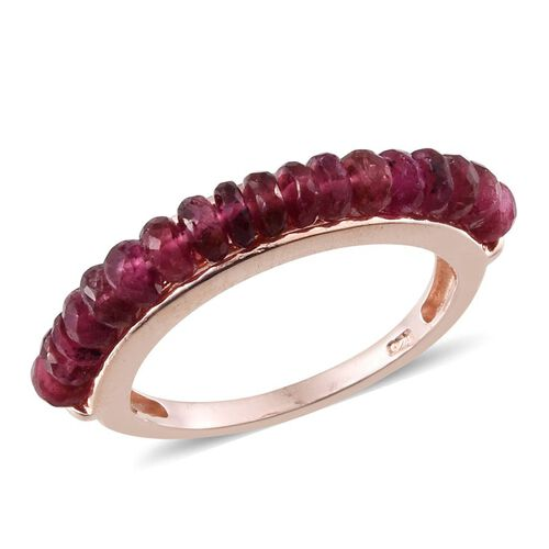 Pink Tourmaline (Rnd) Half Eternity Ring in Rose Gold Overlay Sterling Silver 5.000 Ct.