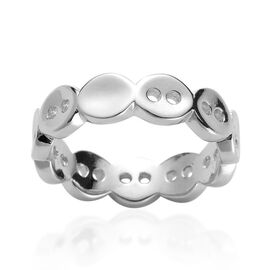 LucyQ Button Ring in Rhodium Plated Sterling Silver 3.70 Gms.