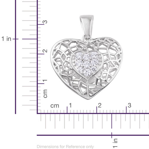 J Francis - Platinum Overlay Sterling Silver Heart Pendant Made with SWAROVSKI ZIRCONIA