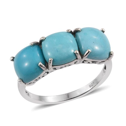 Arizona Sleeping Beauty Turquoise (Cush) Trilogy Ring in Platinum Overlay Sterling Silver 5.750 Ct.