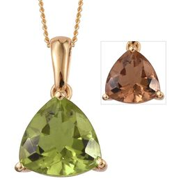 Alexite (Trl) Solitaire Pendant With Chain in 14K Gold Overlay Sterling Silver 2.000 Ct.