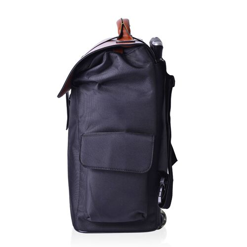Deluxe Wheeled Black Backpack Cabin Size Luggage (Size 50x36x19 Cm)