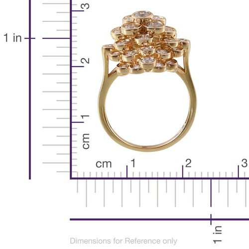 J Francis - 14K Gold Overlay Sterling Silver (Rnd) Cluster Ring Made With SWAROVSKI ZIRCONIA