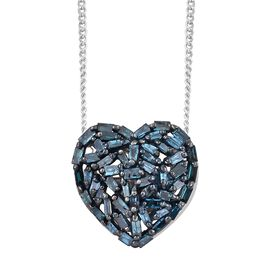 GP Blue Diamond (Bgt), Kanchanaburi Blue Sapphire Heart Pendant with Chain (Size 18) in Rhodium Plated Sterling Silver 0.365 Ct.