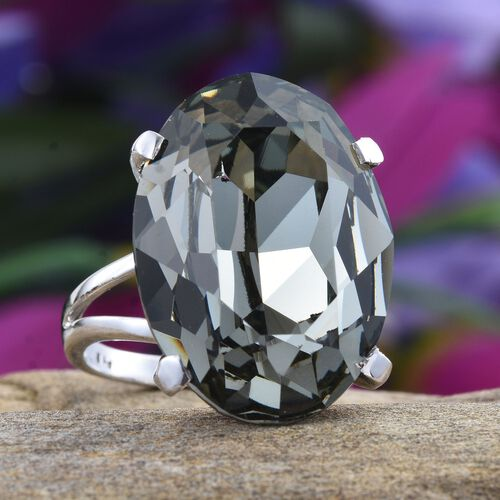 J Francis Crystal from Swarovski - Black Diamond Crystal (Ovl) Ring in ION Plated Platinum Bond