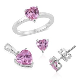 ELANZA AAA Simulated Pink Sapphire (Hrt) Solitaire Ring, Pendant and Stud Earrings (with Push Back) in Sterling Silver