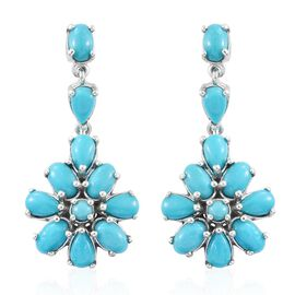 Arizona Sleeping Beauty Turquoise (Pear) Floral Earrings (with Push Back) in Platinum Overlay Sterling Silver 5.000 Ct.