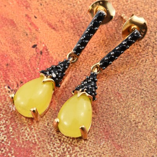 Yellow Jade (Pear), Boi Ploi Black Spinel Earrings (with Push Back) in Black Rhodium and 14K Gold Overlay Sterling Silver 5.000 Ct.