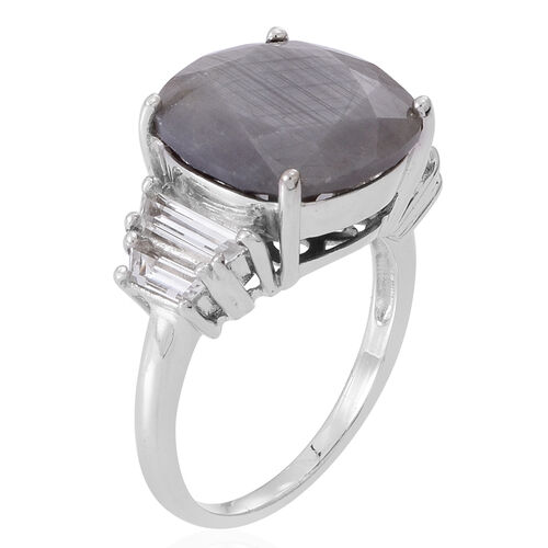 Natural Silver Sapphire (Cush 11.85 Ct), White Topaz Ring in Rhodium Plated Sterling Silver 13.000 Ct.