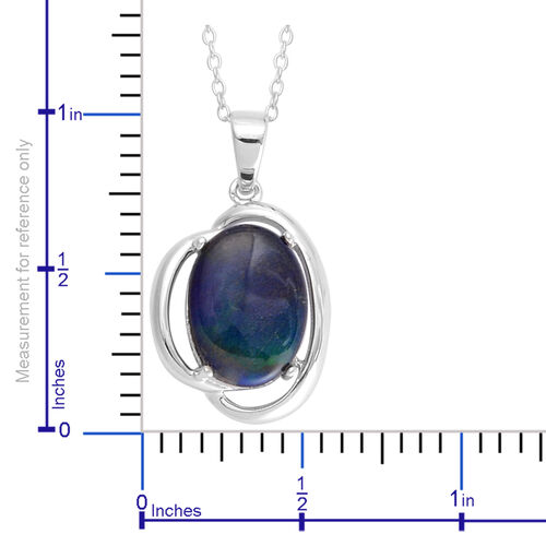 Canadian Ammolite (Ovl) Solitaire Pendant With Chain in Rhodium Plated Sterling Silver 3.500 Ct.