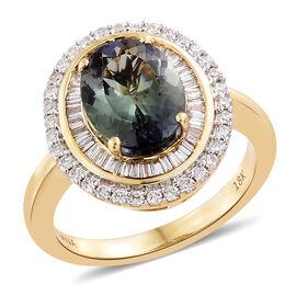 ILIANA 18K Yellow Gold 3.75 Carat AAA Green Tanzanite Ring with Diamond (SI/G-H)