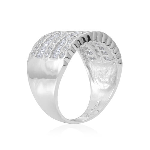 ELANZA AAA Simulated White Diamond (Bgt) Ring in Sterling Silver, Silver wt 8.40 Gms.