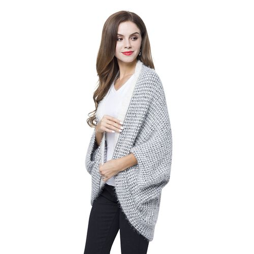 Designer Inspired Grey and White Colour Winter Boho Chic Sleeve Kimono (Size 108x48 Cm)