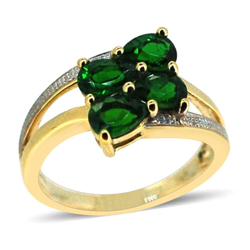Russian Diopside (Pear) Ring in 14K Gold Overlay Sterling Silver 1.750 Ct.