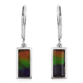 AA Canadian Ammolite (Bgt 10x4mm) Lever Back Earrings in Platinum Overlay Sterling Silver 2.000 Ct.