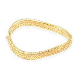 RACHEL GALLEY Yellow Gold Overlay Sterling Silver Lattice Bangle (Size 7.5), Silver wt. 27.45 Gms.