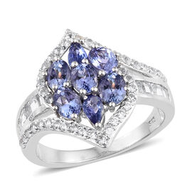Tanzanite (Ovl and Pear), White Topaz Ring in Platinum Overlay Sterling Silver 3.500 Ct.