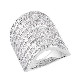 Designer Inspired-ELANZA AAA Simulated White Diamond Wide Band Ring in Rhodium Plated Sterling Silver