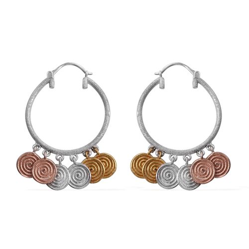Designer Inspired-Yellow Gold, Rose Gold and Platinum Overlay Sterling Silver Coin Hoop Earrings (with Clasp), Silver wt. 13.10 Gms.