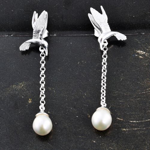 Designer Inspired-Fresh Water Pearl Earrings (with Push Back) in Sterling Silver.Silver Wt 5.01 Gms