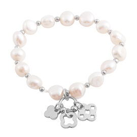 Fresh Water Pearl  Bracelet (Size 7) with Charm in Silver Plated