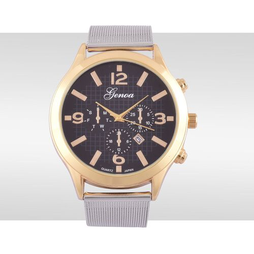 GENOA Japanese Movement Black Dial Water Resistant Watch in Gold Tone with Stainless Steel Back and Chain Strap