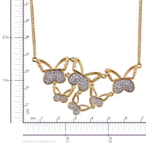 Kimberley Butterfly Collection Natural Cambodian Zircon (Rnd) Butterfly Necklace (Size 18) in 14K Gold Overlay Sterling Silver