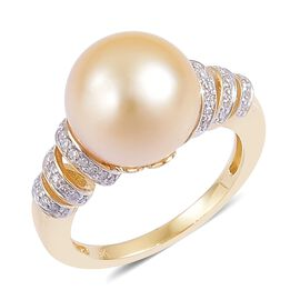 9K Y Gold AA South Sea Golden Pearl (Rnd 11.5-12mm), Diamond Ring