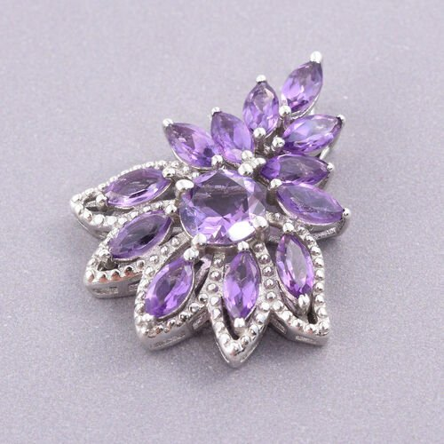 Amethyst (Rnd) Pendant in Platinum Overlay Sterling Silver 4.000 Ct.