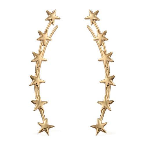 Silver Little Star Ear Climber Earrings in Gold Overlay