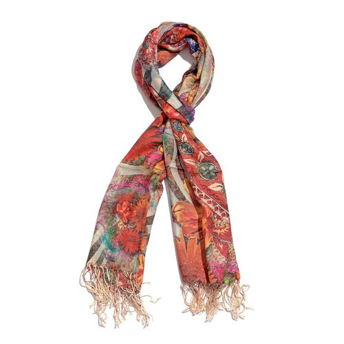 High Quality Digital Print Floral Pattern Orange Colour Modal Scarf (Size 70x180 Cm)