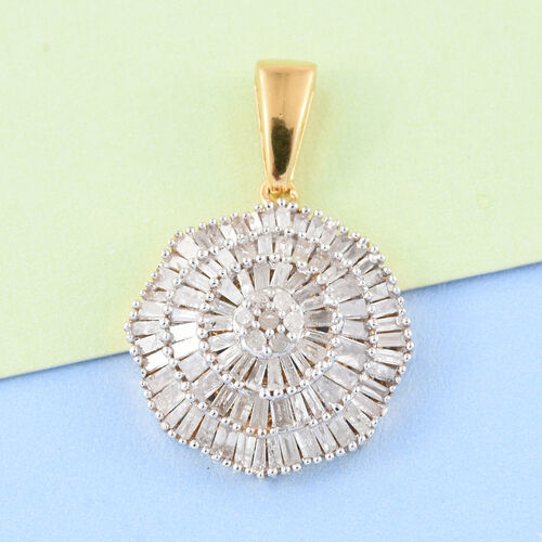 Ballerina Diamond Pendant in 14K Gold Overlay Sterling Silver 1.150 Ct.