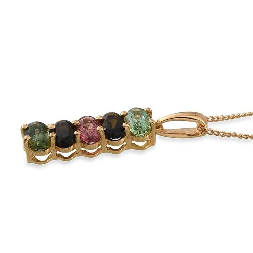 Rainbow Tourmaline (Ovl) 5 Stone Pendant With Chain in 14K Gold Overlay Sterling Silver 1.250 Ct.