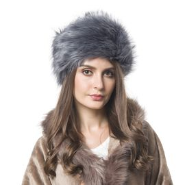 Grey Colour Faux Fur Hat (Size 30X18 Cm)