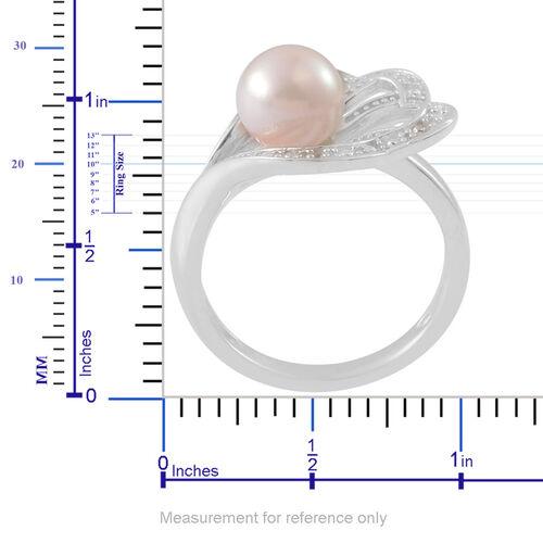 Japanese Akoya Pearl (Rnd), White Topaz Ring in Platinum Overlay Sterling Silver