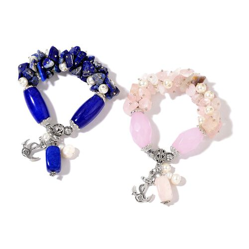 Set of 2 - Lapis Lazuli, Rose Quartz, Fresh Water White Pearl and White Glass Pearl Stretchable Bracelet (Size 7) with Anchor Charm in Silver Tone 753.00 Ct.