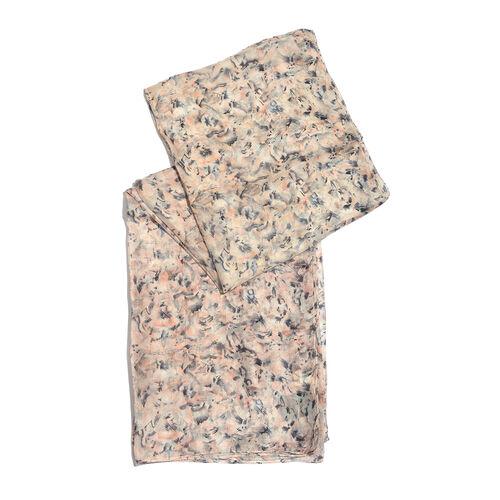 100% Tabby Silk White, Black, Cream and Multi Colour Handscreen Printed Scarf (Size 180x100 Cm)