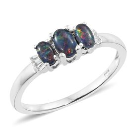 One Time Deal-Australian Boulder Opal (Ovl), Diamond Ring in Sterling Silver