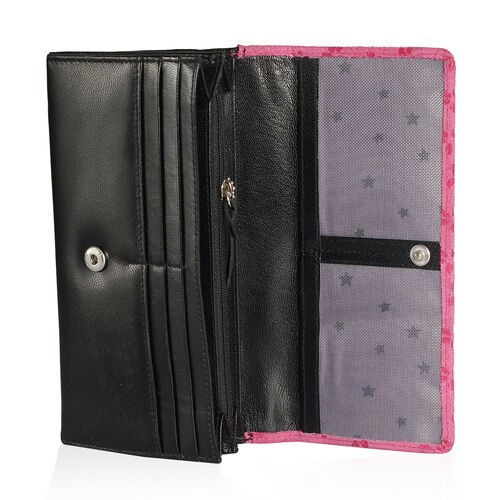 Summer New Collection Genuine Leather Fuchsia Colour Floral Pattern RFID Blocker Black Colour Ladies Wallet (Size 19x10x2.5 Cm)
