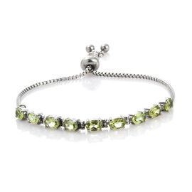 Designer Inspired-Hebei Peridot (Ovl) Adjustable Bracelet (Size 6.5 to 8.5) 4.000 Ct.