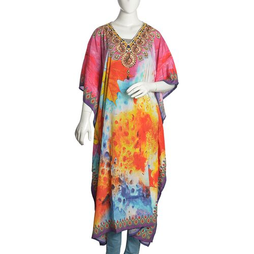 Pink, Orange and Multi Colour Maple Leaf and Necklace Digital Printed Kaftan (Free Size)