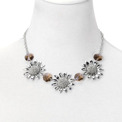Simulated Grey Diamond Sunflower BIB Necklace (Size 20 with 2 inch Extender) in Silver Tone
