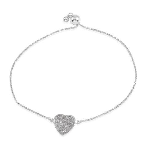 JCK Vegas Collection Sterling Silver Adjustable Heart Bracelet (Size 9), Silver Wt 3.00 Gms.