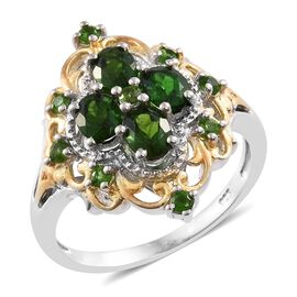 Russian Diopside (Ovl) Ring in Platinum and Yellow Gold Overlay Sterling Silver 1.750 Ct.